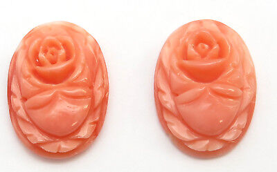 Carved Angelskin coral loose oval gemstone matched pair 11x15 millimeters