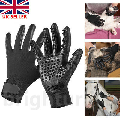 Pet Dog Cat Horse Cleaner Grooming Gloves Brush Hair Remover Shedding Massage UK