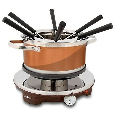 NutriChef Electric Melting Pot Fondue Maker | Dipping Forks, Stainless Steel