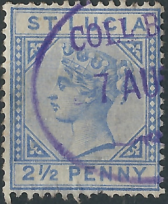 St Lucia 1883: Victoria 2-1/2d Ultramarine SG46. Oval Cancellation. VF Used.
