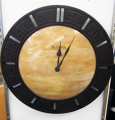 Bulova , Tephra Laser Cut Wood Frame Wall Clock W/ Fired Domed Glass Dial, C4372