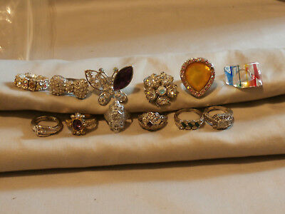 Vintage Costume Lot of 12 Large Rhinestone Cocktail Rings Buckle Lucite Avon