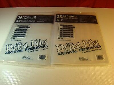 ( 2 ) 25 Archival Print File 35mm Negative Preservers Pages/Storage Sheets 35-7B