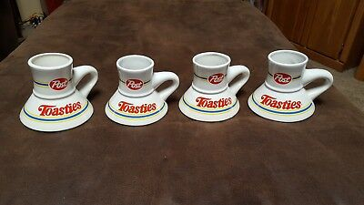 Vintage Post Toasties Coffee Travel Mugs With Non Slip Bottoms Set Of 4