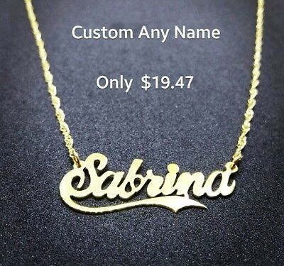 Custom Name Necklace, 18K Gold Plated | Any Name Plate , Name Necklace jewelry