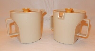 TUPPERWARE Sugar & Creamer w/push button lids - #1414/1415 – Almond