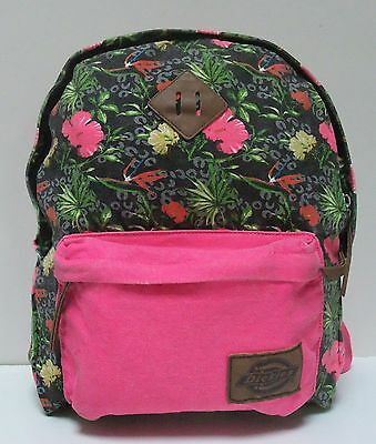 a2fda84af5dc9e DICKIES BACKPACK CANVAS Pink With Flowers Bird of Paradise Hibiscus Hawaii  Palm - $12.82   PicClick