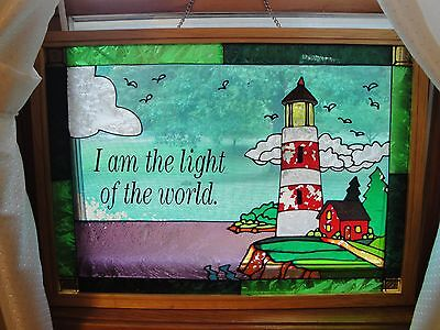 "LIGHTHOUSE Stained Glass Look Window Hanging ""I am the light of the world"" 26x16"