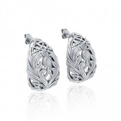 Celtic Scottish Thistle Sterling Silver Earrings by Peter Stone Jewelry