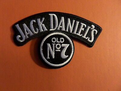 "JACK DANIELS OLD ""7 "" SILVER &  black Embroidered 2-7/8 x 4-1/2 Iron On  Patch"