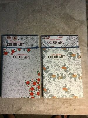 Adult Coloring Book Animal Wonders COLOR ART For Everyone Therapy C7 1 Set Of 4