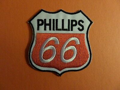 PHILLIPS 66 BLUE & BLACK & RED   Embroidered 3 x 3-1/4 Iron On PATCH