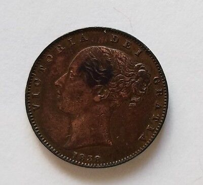 1838 Victoria farthing 1/4d coin