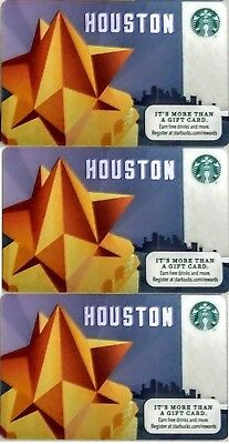 Lot 3 Starbucks HOUSTON City 2014 gift card set NEW!