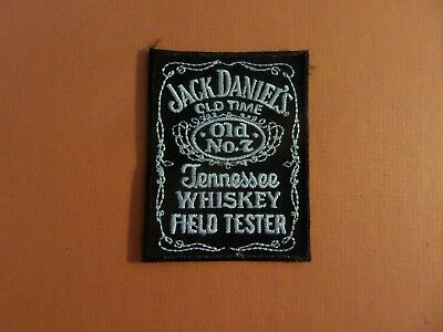 "JACK DANIELS OLD ""7 "" SILVER &  black Embroidered 2-1/4 x 3 Iron On  Patch"
