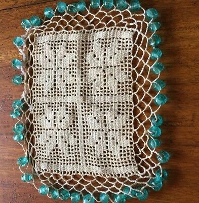 Antique Glass Bead Crochet Jug Cover #1