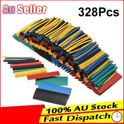 328pcs Assortment Heat Shrink Sleeve Wrap Wire Kit Electrical Cable Tube Tubing