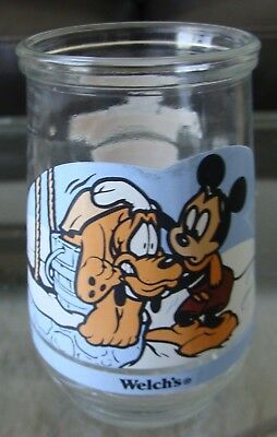 Vintage Welch's Jelly Jar- A Friend In Need -  Disney's Mickey Mouse & Pluto