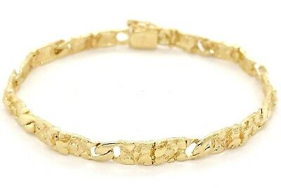 "10k Yellow Gold Solid Nugget Style Cuban Link Chain Bracelet 7"" 5.3mm 8.9 grams"