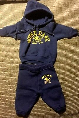Vtg 80s Champion Made In USA notre dame baby irish hoodie sweatpants set outfit