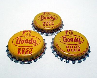 Set of 3 Vintage GOODY ROOT BEER Unused Cork Lined Soda Bottle Caps Crowns