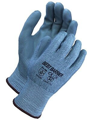 Ansi Cut Resistant Level 4,  Grey Pu Palm Coated Gloves, 12 Pairs