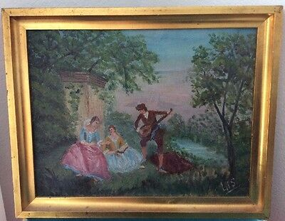 Antique French Oil Painting Classic Rococo Setting Original by Lis of Montigny,