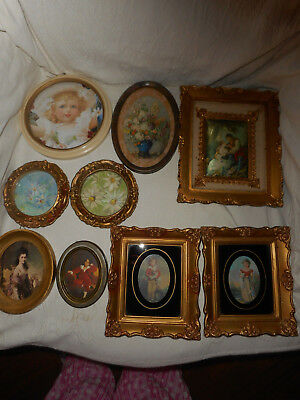 Lot Of 9 Assorted Vintage Gold Plastic Frames, Glass, Pictures