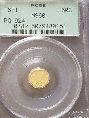 1871 50C California Fractional Gold Piece PCGS MS60 BG 924 OGH