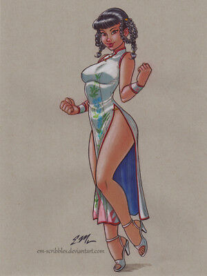Original Cute Leifang Dead or Alive DOA Color Drawing Art Pin-Up Eric Matos/EM