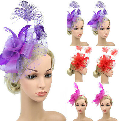 Feather Mesh Fascinators Hat Flower Ribbons With Headband Forked Clip