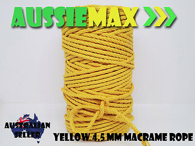4.5mm Yellow Macrame Rope 100% Natural Cotton Cord 90 Meters
