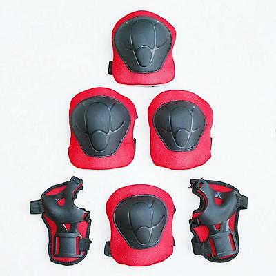 Hot Kids Outdoor Skating Skateboard Knee Wrist Elbow Guard Pads Black & Red AE