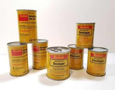 Set Of 7 Vintage KODAK Cans Of Developer!