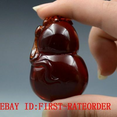 24g 100% Natural Blood Red Burmite Amber Stone Hand-carved Gourd Pendant F18