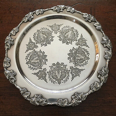 Superb Quality Vintage Strachan Silver Plated Footed Butlers Tray Grapes Vines