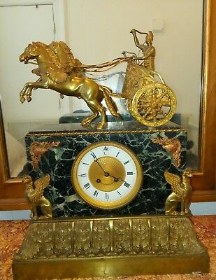 19th centure palace size empire style ormolu and marble chariot clock