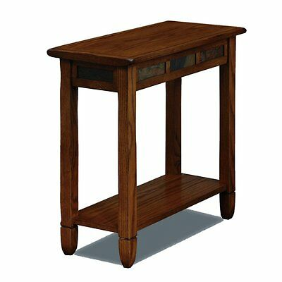 Leick Home 10060 Favorite Finds Rustic Slate Chairside Table, Oak, 24 inches