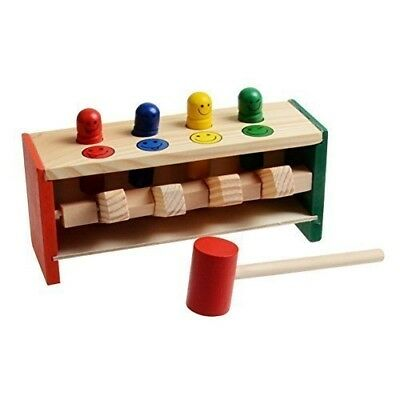 Children's Toddlers Educational Toy Wooden Game Hammering Bench Hammer R1H3