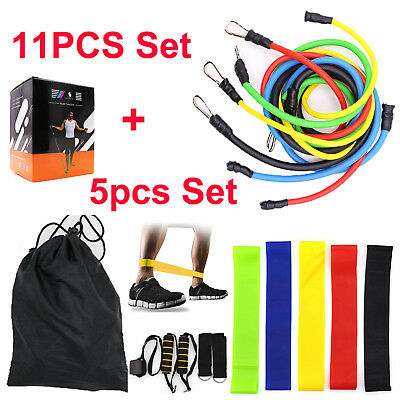 11 +5 Pcs Set Resistance Bands Workout Exercise Yoga Crossfit Fitness Loop Tubes