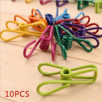 10x Metal Clamp Clothes Laundry Hangers Strong Grip Washing Pin Pegs Clips n e