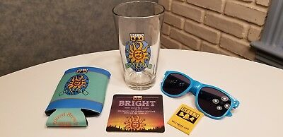 BELL'S OBERON Ale PINT BEER GLASS. SUNGLASSES  KOOZIE,MATCHES & COASTER DATED