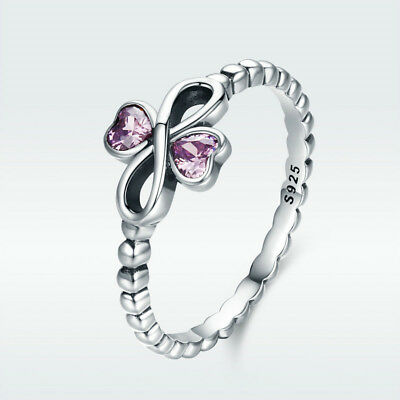 Infinity Charm 925 Sterling Silver Finger Ring With Pink CZ Fashion Jewelry Size