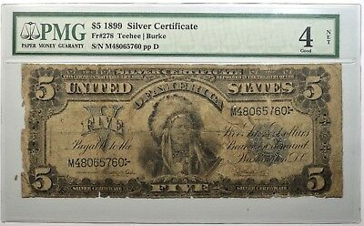 1899 $5 Silver Certificate 'Indian Chief' FR.-278 PMG GOOD-04