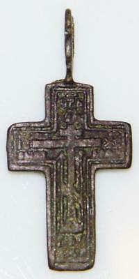 Medieval Byzantine Bronze Calvary Cross Passion Pendant Old Orthodox Church