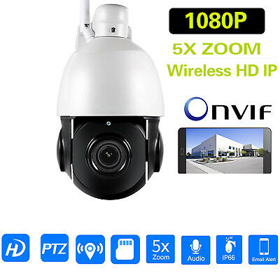 Wireless PTZ Speed Dome 1080P IP Camera WIFI Outdoor 5xOptical Zoom HD  Network
