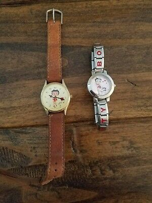 Two Betty Boop Women's Watches Brown Leather band an chrome band says Betty Boop