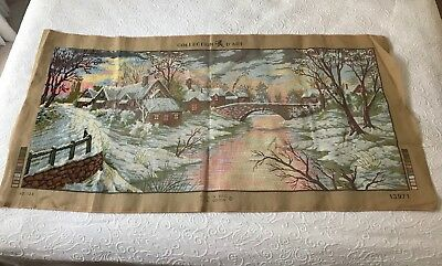 Vintage french tapestry canvas collection d'art started HUGE winter village