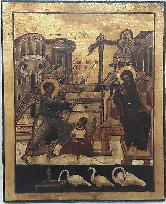 Antique icon of the 20th century, the Annunciation