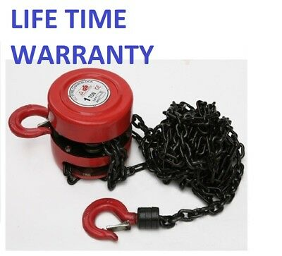 NEW! 1 Ton Chain Workshop Lifting Block & Tackle Hoist Heavy Duty Car Load